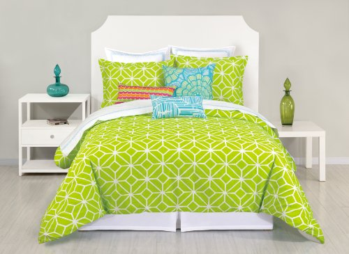 Trina Turk 2-Piece Trellis Lime Green Duvet Set, Twin, Lime