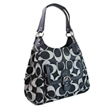 Coach 24742 Campbell Signature Sateen Hobo in Black & White