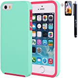 Super Thin Stylish Shockproof Dirt-proof Dustproof Hybrid Case Cover Skin for iPhone 5/5s + Stylus + Screen Protector - Green/Pink