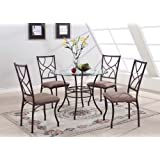 King's Brand 5 Pc. Set Brand Round Glass & Metal Dining Room Kitchen Table And 4 Chairs