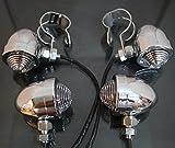 ブレット ウィンカー ランプ 4個 セット バイク 用 (クロム)