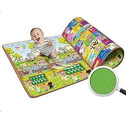 Bulfyss 100% Waterproof, Double Side Baby Play & Crawl Mat (Size- 6'X4')