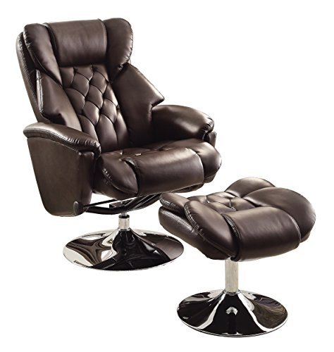 Dark brown bonded leather swivel reclining chair w ottoman living room chairs ebay - Swivel recliner chairs for living room ...