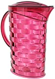 Drinking Cups Set with Pitcher / Dispenser - Water Jug with Cup - 5 Piece Set with Lid - For Ice Water / Tea / Juice / Sangria / Camping / Picnic / BBQ / Lemonade Stand / Kid - Colors May Vary