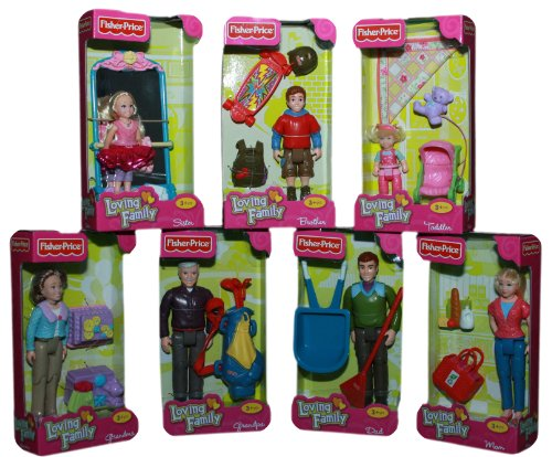 Fisher Price Loving Family Dollhouse Figures Full Family of 7 Grandma, Grandpa, Mother, Father, Sister, Brother and Toddler. Beautifully Warped in Cellophane and Ribbon