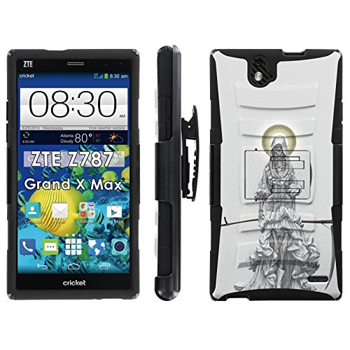 Santa Muerte- Blitz Hybrid Armor Case for [ZTE Grand X Max Z787] with Kickstand and Holster by Mobiflare