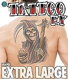 Full Back Temporary Tattoo Biker Reaper With Eight Ball