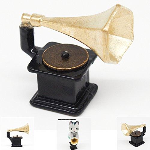 Metal Mini Vintage Gramophone Phonograph Miniature Black & Golden Dollhouse Gift