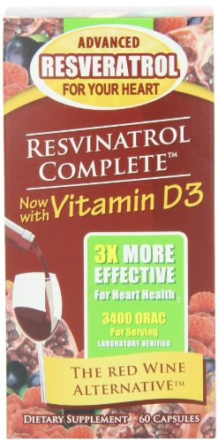 Resvinatrol Complete Dietary Supplement Vegetarian Capsules, 60 Count