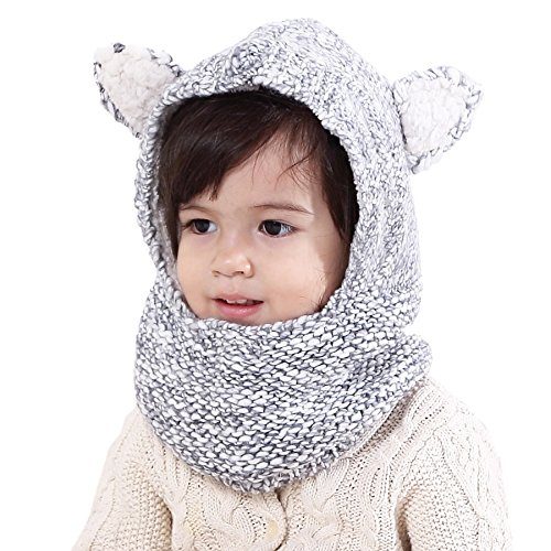Connectyle Baby Kids Warm Winter Hats Thick Woolen Earflap Hood Hat Scarves with Ears Black White, Size L (4-8T (53-56cm Head Girth))
