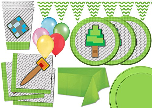 Mining Pixel World Birthday Party Supplies Set Tableware Balloons & More Complete Party Kit