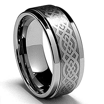 King Will Silver Mens Tungsten Ring Laser Celtic Knot Polish Edge Band
