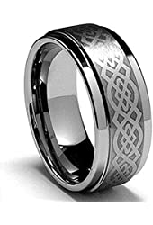 King Will 8mm Silver Mens Tungsten Ring Laser Celtic Knot Polish Edge Wedding Band Size 7-14