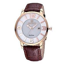 buy Sililun® Women Sunlight Charging Eco-Drive Quartz Movement Watch Double Dial Lady Wristwatches Brown