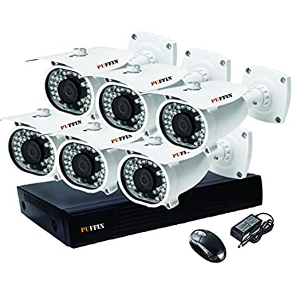 Puffin-8-Channel-Dvr,-6(PF-6C833)-1000TVL-Bullet-CCTV-Cameras