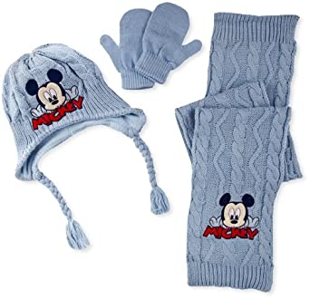 Disney Mickey Mouse Baby Boys' Hat, Scarf & Mitten Set , Royal Blue, 6-12 Months