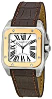 Cartier Men's W20107X7 Santos 100 Leather Strap Watch from Cartier
