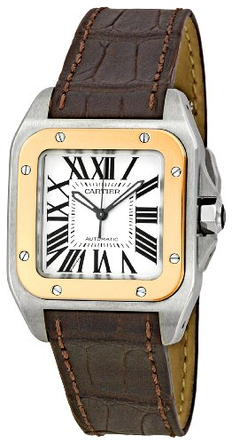Cartier Men'S W20107X7 Santos 100 Leather Strap Watch