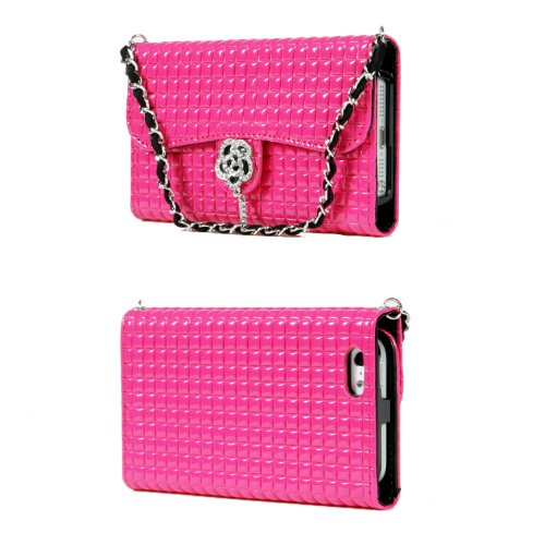 Great Sale TORU iHand Handbag Clutch Wallet Case with Bling for iPhone 5 / 5S - Hot Pink