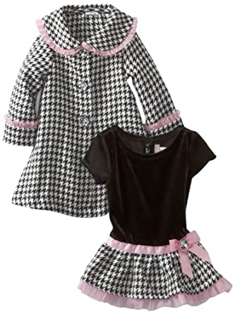Youngland Baby-Girls Infant Houndstooth Coat Set, Black/White, 12 Months