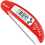Anpro Digital Instant Read Cooking Thermometer with Stainless Probe, Best for Food, Meat, Cooking, BBQ, Poultry, Grill Food and Candy - Red