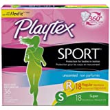 Playtex Sport Tampons Multipack, Unscented Regular/Super Absorbency, 36 Count