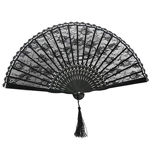 OULII Hand Fan Paper Fans Wedding Fans for Party Favor Fancy Dress (Black)