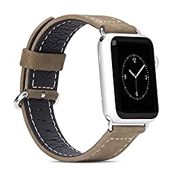 Jdhdl Hoco Luxury Leather Band Straps for Apple Watch 42mm and 38mm Iwatch Straps Replacement (Brown 38mm)