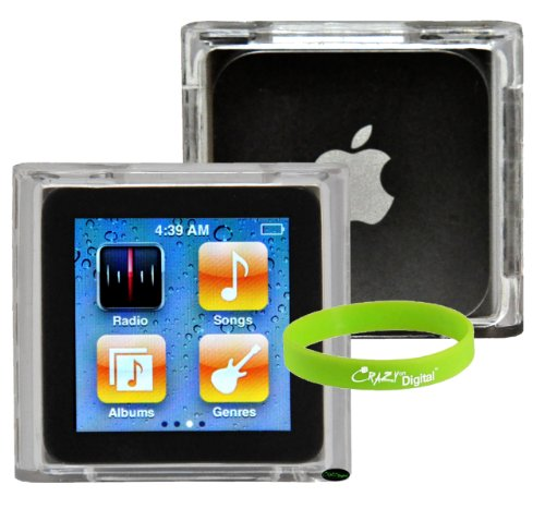 CrazyOnDigital Crystal Acrylic Hard Case for Apple iPod Nano 6G 6th Generation. Bonus Wristband included