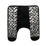 Popular Bath Mosaic Stone Black Contour Rug