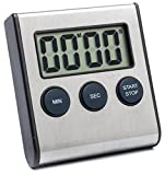 Elegant Digital Kitchen Timer, 3 Stainless Steel Models, Model eT-23, SUPER Strong Magnetic Back, Loud Alarm, Large Display, Auto Memory, Cooking, Baking