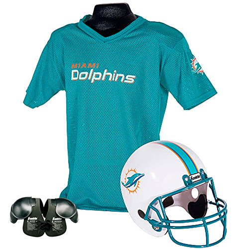 Miami Dolphins Youth NFL Helmet and Jersey SET with Shoulder Pads (Nfl Dolphins Uniform Costume)