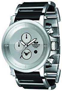 Vestal Men's PLE031 Plexi Silver Dial Black Leather Watch