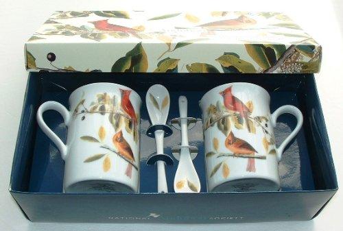 "Audubon Society Fine Porcelain Gift Box Two Mug & Spoon Set "" Northern Cardinal """