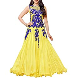 Akantik's Women's Georgette Unstitched Anarkali Dress Material (GE-HSN-KRS_Yellow_Free Size)