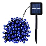 Qedertek Outdoor 100 LED Waterproof Solar String Lights, 40FT Starry Fairy Lighting Decor for Christmas Trees, Garden, Patio, Wedding, Party and Holiday Celebration, Blue