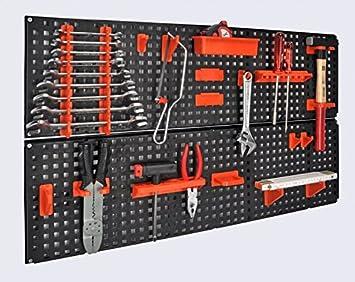 panneau porte outils extensible avec kit de fixation 19 pi ces 80. Black Bedroom Furniture Sets. Home Design Ideas