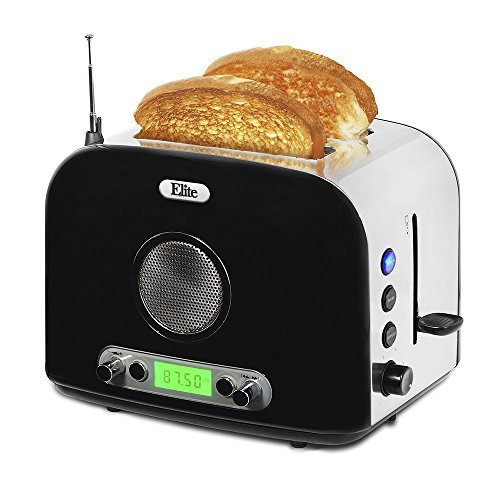 Elite Platinum ERT-6067 Maxi-Matic 2-Slice Multi-Function Radio Toaster, Silver (Stainless Steel) (Toaster With Images compare prices)