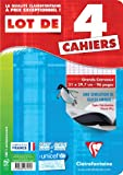 Clairefontaine Metric Lot de 4 Cahier Grands carreaux sans spirales 96 pages 21 x 29,7 Assortis