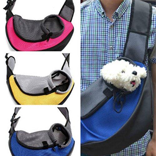 M Pet Dog Cat Carrier Mesh Sling Backpack Travel Tote Shoulder Bag (Green)