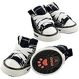 Pet Dog Shoes Denim Sport Casual Anti-slip Rubber Boots Dark Blue Sneaker Comfortable Shoes 4Pcs Pack (Small)