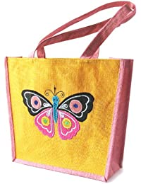 Grehom Shoulder Bag - Butterfly; Beautiful Gift;Embroidered Motifs On Jute Bag; Made Of Eco-friendly Hessian;...