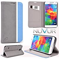 Samsung Galaxy S5 Accessories Cover Case Flip Stand (Grey Baby Blue) Nu Vur |Sgs5 Cceb|