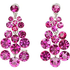 Heirloom Finds Hot Pink Fuchsia Crystal Bubble Dangle Earrings by Heirloom Finds