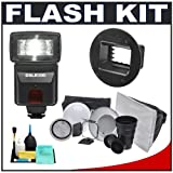 Precision Design DSLR300 High Power Auto Flash with Zoom/Bounce/Swivel Head + Interfit Strobies Portrait Kit + Flex Mount + Cleaning Kit for Digital SLR Cameras
