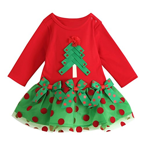 Little Hand Baby Girls' Christmas Bowknot Polka Dots Splicing Dresses