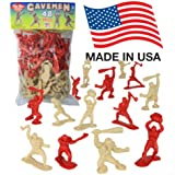 TimMee Cavemen Figure: 48 Piece Set 40mm Prehistoric Toy Figures - Made in USA !