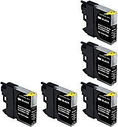 Sherman Inks and Toner Cartridges ® 5 Pack ALL BLACK Compatible Brother LC61 LC 61 Ink Cartridge Multipack None-Oem Replacement for Inkjet Printers: DCP-165C, DCP-375CW, DCP-385C, DCP-395CN, DCP-585CW, DCP-6690CW, DCP-J140W, DCP-J715W, MFC-250C, MFC-255CW, MFC-290C, MFC-295CN, MFC-490CW, MFC-495CW, MFC-5490CN, MFC-5890CN, MFC-5895CW, MFC-6490CW, MFC-6890CDW, MFC-6890DW, MFC-790CW, MFC-795CW, MFC-990CW, MFC-J220, MFC-J265W, MFC-J270W, MFC-J410W, MFC-J415W,J615W, J630W BK C M Y