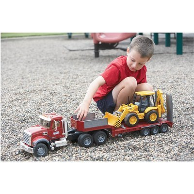 Bruder Mack Granite Flatbed Truck with JCB Loader Backhoe (Semi Trucks Rc compare prices)
