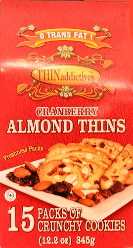 THIN Addictives Cranberry Almond Thins - 15 Packs of Crunchy Cookies 12.2oz